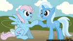 Size: 8000x4500 | Tagged: safe, artist:showtimeandcoal, trixie, wind whistler, pegasus, pony, unicorn, absurd resolution, commission, digital, digital art, female, g1, g1 to g4, generation leap, greeting, group, hoofbump, mare, vector