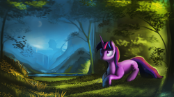 Size: 6000x3350 | Tagged: safe, artist:auroriia, twilight sparkle, dragon, pony, unicorn, absurd resolution, crescent moon, female, forest, lake, mare, moon, river, scenery, tree, updated, waterfall