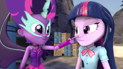 Size: 1920x1080 | Tagged: safe, artist:fivefreddy, sci-twi, twilight sparkle, equestria girls, 3d, boop, cute, happy, midnight sparkle, midnightabetes, poking, pure unfiltered evil, purple, source filmmaker, twilight is not amused, twolight, unamused