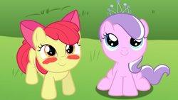 Size: 1191x670 | Tagged: safe, artist:ktd1993, apple bloom, diamond tiara, earth pony, pony, blush sticker, blushing, diamondbloom, female, filly, lesbian, shipping