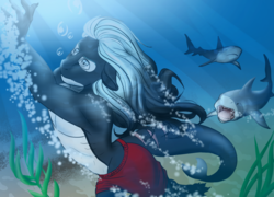 Size: 1024x737 | Tagged: safe, artist:blackblood-queen, oc, oc only, oc:mako, orca pony, original species, shark, anthro, anthro oc, bubble, clothes, floppy ears, partial nudity, scar, sharp teeth, story in the source, story included, sunlight, swimming, swimming trunks, teeth, topless, underwater