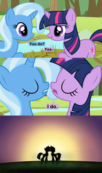 Size: 1024x1724 | Tagged: safe, artist:beavernator, trixie, twilight sparkle, pony, unicorn, comic, cropped, eyes closed, female, kissing, lesbian, mare, open mouth, shipping, twixie