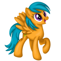 Size: 1000x1000 | Tagged: safe, artist:vinylbecks, drizzledrips, pegasus, pony, background pony, female, mare, open mouth, raised hoof, simple background, solo, transparent background