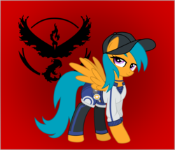 Size: 1024x882 | Tagged: safe, artist:vinylbecks, drizzledrips, moltres, pegasus, pony, background pony, baseball cap, cap, clothes, female, hat, mare, pokémon, pokémon go, red background, simple background, solo, team valor