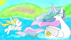Size: 2880x1620 | Tagged: safe, artist:darlingannawhimsy, princess celestia, oc, oc:sunbasker, duck pony, flutter pony, g1, adopted offspring, alternate eye color, crayon drawing, cute, digital art, duo, female, filly, flying, g1 to g4, generation leap, gift art, happy, heartwarming, heartwarming description, mare, momlestia, mother and daughter, parent:princess celestia, swanlestia, swimming