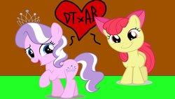 Size: 1191x670 | Tagged: safe, artist:ktd1993, apple bloom, diamond tiara, earth pony, pony, diamondbloom, female, filly, lesbian, shipping