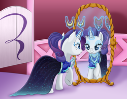 Size: 2639x2043 | Tagged: safe, artist:lifesharbinger, rarity, unicorn, alternate hairstyle, clothes, dress, female, jewelry, mare, mirror, necklace, ponytail, solo