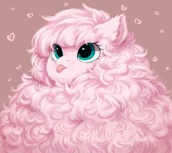 Size: 1024x908   Tagged: safe, artist:peachmayflower, oc, oc only, oc:fluffle puff, earth pony, pony, :p, cute, female, fluffy, heart, mare, maximum floof, mlem, ocbetes, solo, tongue out