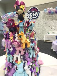 Size: 768x1024 | Tagged: safe, applejack, fluttershy, pinkie pie, rainbow dash, rarity, songbird serenade, spike, tempest shadow, twilight sparkle, alicorn, dragon, pony, unicorn, my little pony: the movie, balloon, broken horn, female, hascon, horn, irl, mane seven, mane six, mare, my little pony logo, photo, plushie, tower of pony, twilight sparkle (alicorn)
