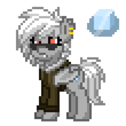 Size: 550x550   Tagged: safe, artist:radical user 76, oc, oc only, oc:whiteout, bat pony, pony, pony town, aviators, bomber jacket, ice, piercing, pixel art, simple background, solo, transparent background