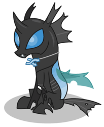 Size: 1050x1280 | Tagged: safe, artist:watermelon changeling, derpibooru exclusive, oc, oc only, oc:random image, changeling, derpibooru, blue changeling, changeling oc, cute, cute little fangs, derpibooru ponified, fangs, jewelry, meta, ms paint, necklace, ponified, simple background, sitting, solo, white background