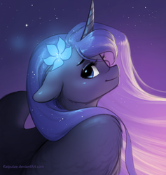 Size: 1211x1277   Tagged: safe, artist:katputze, princess luna, alicorn, pony, bust, female, floppy ears, flower, flower in hair, looking at you, looking over shoulder, mare, portrait, profile, solo, spread wings, wings