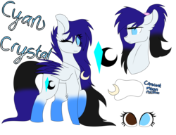 Size: 3900x3000 | Tagged: safe, artist:tomboygirl45, oc, oc only, oc:cyan crystal, pegasus, pony, colored wings, female, high res, mare, multicolored wings, one eye closed, reference sheet, simple background, solo, transparent background, wink