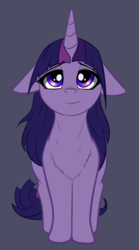 Size: 1582x2840 | Tagged: safe, artist:duop-qoub, twilight sparkle, alicorn, pony, descended twilight, bedroom eyes, chest fluff, cute, female, floppy ears, fluffy, gray background, lidded eyes, long mane, looking at you, looking up, mare, simple background, sitting, smiling, solo, twiabetes, twilight sparkle (alicorn)