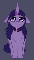 Size: 1609x2851 | Tagged: safe, alternate version, artist:duop-qoub, twilight sparkle, pony, descended twilight, collar, cute, female, floppy ears, looking at you, looking up, mare, pony pet, smiling, solo, twiabetes