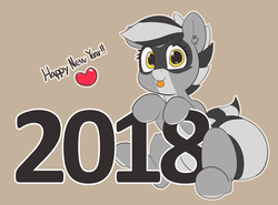 Size: 5125x3791 | Tagged: artist:pabbley, cute, earth pony, female, happy new year, happy new year 2018, heart, holiday, mare, oc, oc:bandy cyoot, oc only, pony, raccoon pony, safe, solo, tongue out