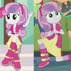Size: 1036x1036 | Tagged: apple bloom, clothes, comparison, cutie mark crusaders, equestria girls, equestria girls series, safe, scootaloo, socks, sweetie belle
