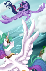 Size: 1024x1576 | Tagged: alicorn, artist:crecious, cloud, crown, duo, female, flying, island, mare, necklace, pony, princess celestia, regalia, safe, scenery, sky, smiling, twilight sparkle, twilight sparkle (alicorn), water