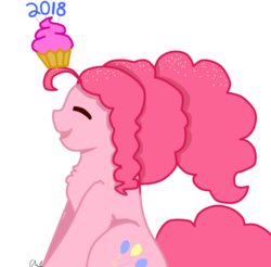 Size: 595x585 | Tagged: 2018, ahoge, artist:thestrawberrydipped, balancing, confetti, confetti in mane, cowlick, cupcake, cute, diapinkes, earth pony, eyes closed, female, food, freckles, happy new year, happy new year 2018, holiday, mare, new year, pinkie being pinkie, pinkie pie, pony, poofy pie, safe, smiling, solo, that pony sure does love cupcakes