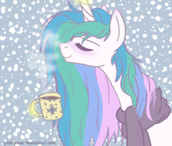 Size: 1280x1083   Tagged: safe, artist:pink-pone, princess celestia, alicorn, pony, clothes, coffee, eyes closed, female, glowing horn, magic, mare, messy mane, scarf, smiling, snow, snowfall, solo