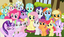Size: 3000x1725 | Tagged: safe, artist:tomfraggle, apple bloom, applejack, cloudchaser, coconut cream, derpy hooves, diamond tiara, fluttershy, lightning dust, lyra heartstrings, meadow flower, pinkie pie, rainbow dash, rarity, scootaloo, starlight glimmer, sweetie belle, toola roola, twilight sparkle, pony, cutie mark crusaders, female, filly, looking at you, mane six, mare, smiling