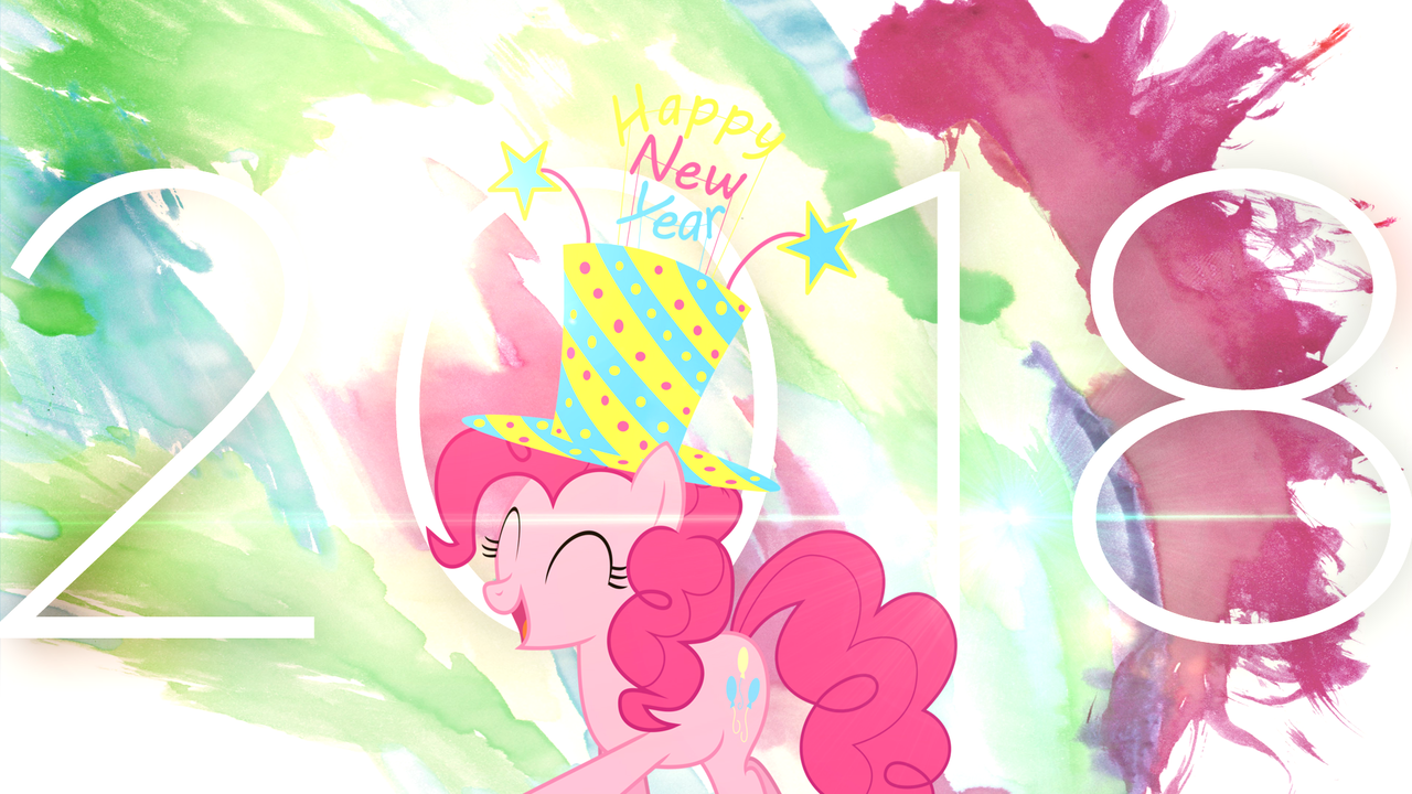 1621446 2018 artistemedina13 artistpenguinsn1fan edit happy new year happy new year 2018 hat holiday pinkie pie pony safe solo top hat