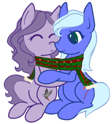 Size: 607x671 | Tagged: safe, artist:afuna, oc, oc only, oc:afuna, oc:neeve, earth pony, parrot, pegasus, pony, 2018 community collab, derpibooru community collaboration, clothes, cuddling, dota 2, female, male, scarf, shared clothing, shared scarf, shipping, simple background, straight, transparent background