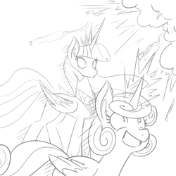 Size: 1000x1000 | Tagged: dead source, safe, artist:reiduran, princess flurry heart, twilight sparkle, alicorn, pony, concerned, duo, ear fluff, excited, explosion, female, glowing horn, grayscale, jewelry, magic, mare, monochrome, older, regalia, sketch, smiling, twilight sparkle (alicorn), varying degrees of want