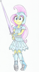 Size: 670x1221 | Tagged: safe, artist:astevenamedwolf, fluttershy, equestria girls, the crystal empire, armor, armor skirt, boots, cute, equestria girls interpretation, fantasy class, female, helmet, holding, joust, jousting outfit, knight, lance, scene interpretation, shoes, simple background, skirt, solo, traditional art, warrior, weapon