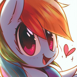 Size: 2018x2018 | Tagged: safe, artist:mirroredsea, rainbow dash, pegasus, pony, cute, dashabetes, female, heart, high res, hnnng, mare, multicolored hair, smiling, solo