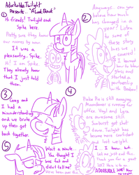 Size: 4779x6013 | Tagged: absurd res, adorkable twilight, alicorn, artist:adorkabletwilightandfriends, comic, comic:adorkable twilight and friends, dragon, female, happy new year, holiday, humor, lineart, male, mare, memories, pony, safe, slice of life, spike, twilight sparkle, twilight sparkle (alicorn), unicorn