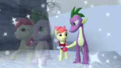 Size: 2000x1125 | Tagged: 3d, adult, apple bloom, applebloom x spike, artist:johnnyxluna, castle, dragon, female, filly, male, older, older apple bloom, older spike, safe, shipping, size difference, snow, spike, spikebloom, spiloom, straight, winter, winter landscape