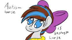 Size: 8000x4500 | Tagged: absurd res, artist:binary6, autism, autism horse, bow, clothes, fanart, meh, oc, oc:breezy, oc only, safe, scarf, simple background, solo