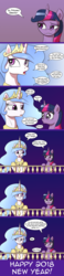 Size: 740x3198 | Tagged: safe, artist:deusexequus, princess celestia, twilight sparkle, alicorn, pony, ask the princess of friendship with benefits, comic, dialogue, female, happy new year, happy new year 2018, holiday, innuendo, lesbian, mare, noodle incident, shipping, twilestia, twilight sparkle (alicorn)