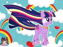 Size: 795x599 | Tagged: alicorn, artist:user15432, cloud, colored wings, hasbro, hasbro studios, heart, jewelry, multicolored wings, necklace, rainbow, rainbow hair, rainbow power, rainbow power-ified, rainbows, rainbow tail, rainbow wings, safe, sparkles, starsue, twilight sparkle, twilight sparkle (alicorn)