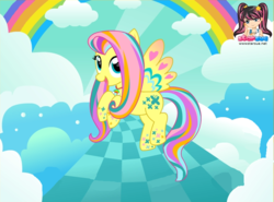 Size: 773x571 | Tagged: artist:user15432, cloud, colored wings, fluttershy, hasbro, hasbro studios, jewelry, multicolored wings, necklace, pegasus, pony, rainbow, rainbow hair, rainbow power, rainbow power-ified, rainbow tail, rainbow wings, safe, starsue
