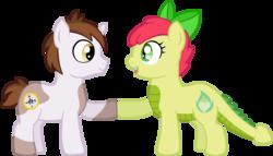 Size: 2933x1674 | Tagged: safe, artist:ludiculouspegasus, oc, oc only, oc:apple spice, oc:bismarck, dracony, hybrid, unicorn, colt, compass, cutie mark, female, heart, hoofbump, interspecies offspring, male, offspring, parent:apple bloom, parent:pipsqueak, parent:spike, parent:sweetie belle, parents:spikebloom, parents:sweetiesqueak, simple background, white background
