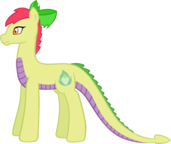 Size: 1810x1522 | Tagged: safe, artist:ludiculouspegasus, oc, oc only, oc:apple spice, dracony, hybrid, bow, cutie mark, heart, interspecies offspring, offspring, older, parent:apple bloom, parent:spike, parents:spikebloom, simple background, solo, white background