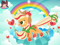 Size: 795x599 | Tagged: applejack, artist:user15432, cloud, earth pony, hasbro, hasbro studios, hat, heart, pony, rainbow, rainbow hair, rainbow power, rainbow power-ified, rainbow tail, safe, starsue