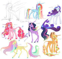 Size: 2000x1904 | Tagged: safe, artist:xenon, applejack, fluttershy, pinkie pie, rainbow dash, rarity, twilight sparkle, alicorn, pony, alicorn six, alicornified, applecorn, cloven hooves, colored hooves, cowboy hat, curved horn, ethereal mane, female, flower, flower in hair, fluttercorn, good end, harvest goddess, hat, leonine tail, mane six, mane six alicorns, mare, pinkiecorn, race swap, rainbowcorn, raised hoof, raricorn, simple background, smiling, starry mane, twilight sparkle (alicorn), ultimate twilight, white background, xk-class end-of-the-world scenario
