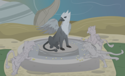 Size: 2807x1719 | Tagged: safe, artist:flicktransition, oc, oc only, oc:arvid, oc:flick transition, oc:plume, griffon, butt, coin, curse, greed, griffonstone, inanimate tf, magic, male, paws, petrification, plot, statue, transformation, trap (device), water