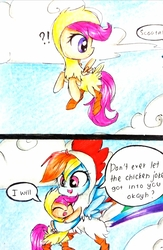 Size: 2117x3246 | Tagged: safe, artist:liaaqila, rainbow dash, scootaloo, pegasus, pony, 2 panel comic, animal costume, bipedal, chick, chicken suit, clothes, cloud, comic, costume, cute, cutealoo, daaaaaaaaaaaw, dashabetes, dialogue, exclamation point, eyes closed, female, filly, flying, happy, heartwarming, henbow dash, hnnng, hug, interrobang, liaaqila is trying to murder us, looking back, mare, question mark, scootachicken, scootaloo can fly, scootalove, sky, smiling, speech bubble, spread wings, traditional art, wings
