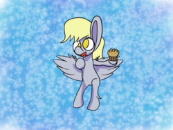 Size: 1600x1200 | Tagged: safe, artist:rafuki, derpy hooves, pegasus, pony, abstract background, female, flying, food, mare, muffin, no pupils, shading, solo