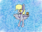 Size: 1600x1200 | Tagged: abstract background, artist:rafuki, derpy hooves, female, flying, food, mare, muffin, no pupils, pegasus, pony, safe, shading, solo