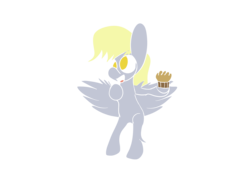 Size: 1600x1200 | Tagged: safe, artist:rafuki, derpy hooves, pegasus, pony, female, flying, food, lineless, mare, muffin, no pupils, simple background, solo, transparent background