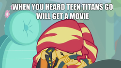 Size: 1280x720 | Tagged: safe, sunset shimmer, driving miss shimmer, equestria girls, equestria girls series, adventure in the comments, barely pony related, depressed, discussion in the comments, driving miss shimmer: fluttershy, female, image macro, meme, mouthpiece, solo, teen titans go