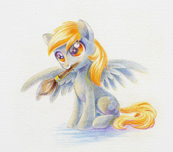 Size: 684x599   Tagged: safe, artist:maytee, derpy hooves, pegasus, pony, female, mouth hold, paintbrush, solo, spread wings, traditional art, underp, wings