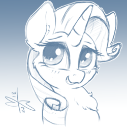 Size: 1200x1200 | Tagged: artist:malwinters, bust, chest fluff, female, gradient background, mare, monochrome, pony, portrait, rarity, safe, sketch, solo, unicorn