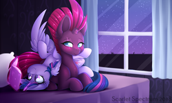 Size: 1600x962 | Tagged: safe, artist:scarlet-spectrum, fizzlepop berrytwist, tempest shadow, twilight sparkle, alicorn, pony, unicorn, my little pony: the movie, bed, blushing, book, broken horn, curtain, eye scar, female, glowing horn, horn, lesbian, magic, mare, night, on bed, pillow, reading, scar, shipping, sitting, sky, stars, telekinesis, tempestlight, twilight sparkle (alicorn), window