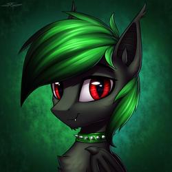 Size: 3000x3000   Tagged: safe, artist:setharu, oc, oc only, bat pony, pony, bat pony oc, bust, collar, male, smiling, solo, spiked collar, stallion